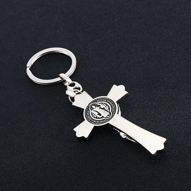 All Saint Jesus Christ Cross Suspension Pendant Keychain for Keys Men's Jewelry Car Keys Chain Ring Cover Holder Trinket