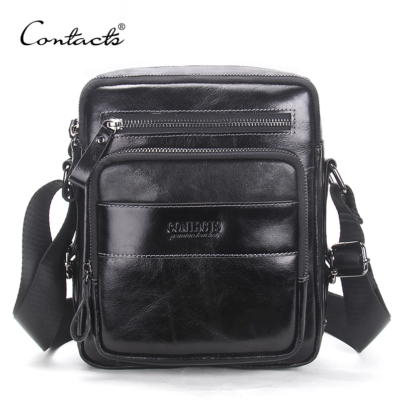 CONTACT'S 2017 New Arrival Genuine Wax Leather Men's Cross Body Bag Shoulder Bags For Men Messenger Bag Portfolio High Quality