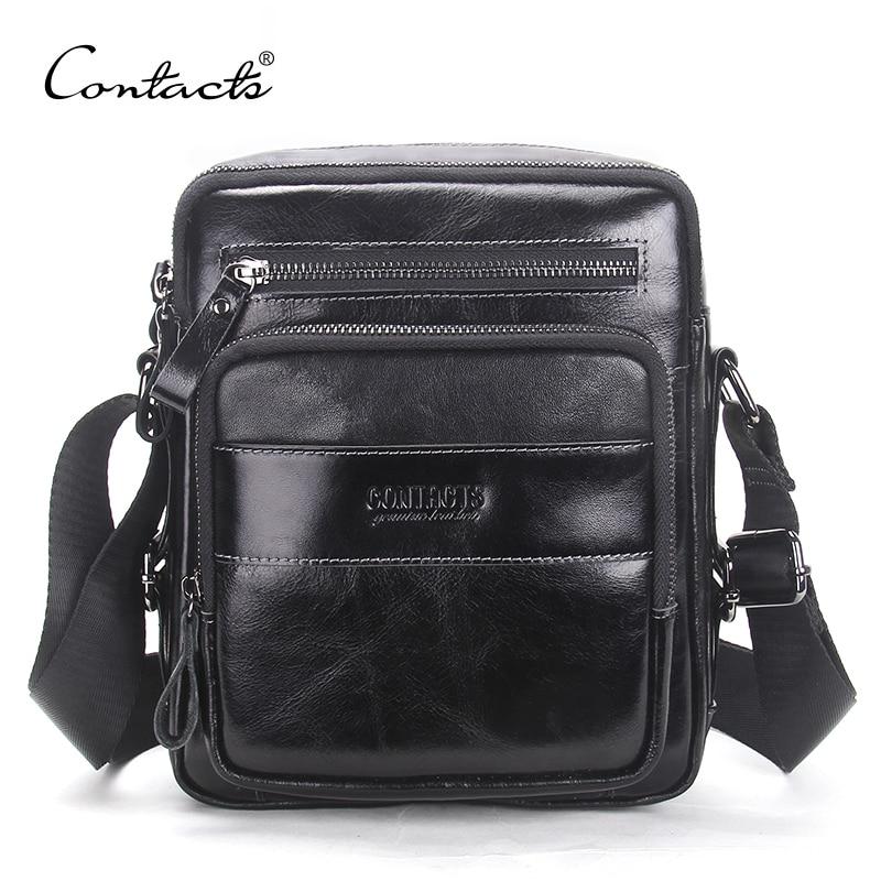 CONTACT'S 2018 New Arrival Genuine Wax Leather Men's Cross Body Bag Shoulder Bags For Men Messenger Bag Portfolio High Quality