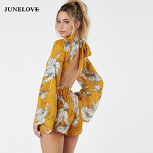 b979d4110aa JuneLove 2019 summer women sexy beach floral printed backless lace up  jumpsuits yellow flare sleeve playsuits casual rompers