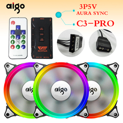 Aigo أورورا C5 قوس قزح أضواء الملونة RGB قابل للتعديل اللون مروحة 120 مللي متر LED جهاز كمبيوتر شخصي التبريد برودة الصامتة حالة جهاز تحكم بالمروحة