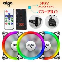 Aigo aurora c5 luzes do arco-íris colorido rgb ajustável cor ventilador 120mm led computador refrigerador de refrigeração silencioso caso ventilador controlador