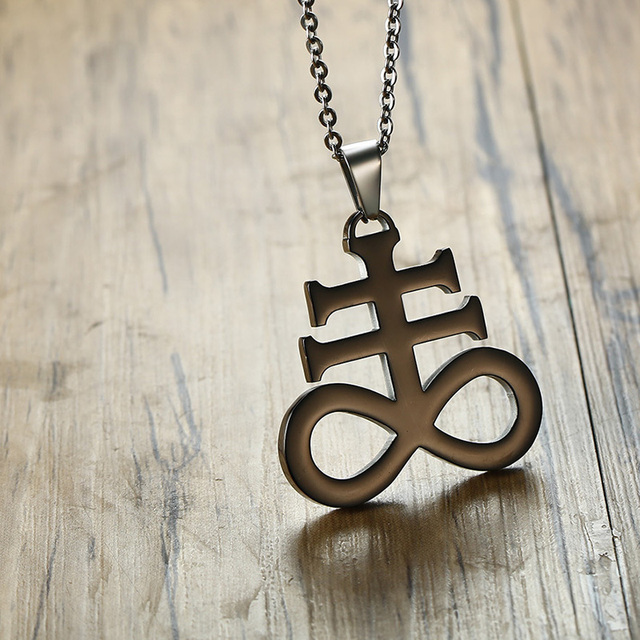 Leviathan Cross Pendant Necklace Stainless Steel 3