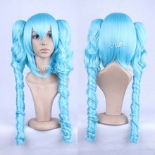 Hot sale Hatsune Miku hair accessories 580g 75cm synthetic blue hiar jewelry for Harajuku curly cosplay wigs