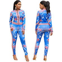 New autumn and winter Southeast Asia popular tribal style fashion high waist tight zipper Slim sexy female print two-piece suit цена