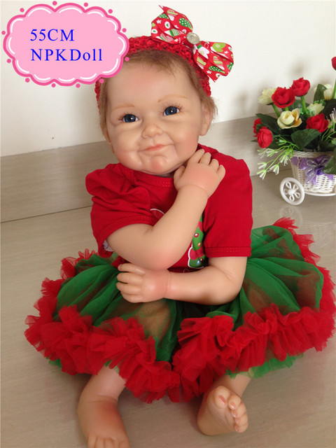 High End Gift 55cm 22inch Silicone Dolls Reborn With Christmas Fashion Clothes New Arrival Cheap Silicone Baby Doll For Sale