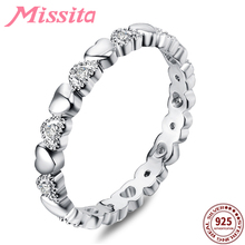 MISSITA 100% 925 Sterling Silver Rings for Women Love Series Heart Wedding Brand Fashion Jewelry Anniversary Gift HOT SELL дядина галина ай да пальчики как поживаешь пчелка