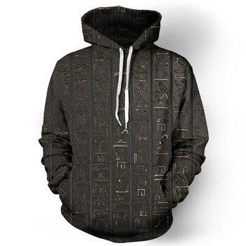 Hieroglyphs Print Men Hoodies Sweatshirts Casual Fitness Pullover Tee Tops Men Women Hoodie Tracksuits Tee Shirts Male