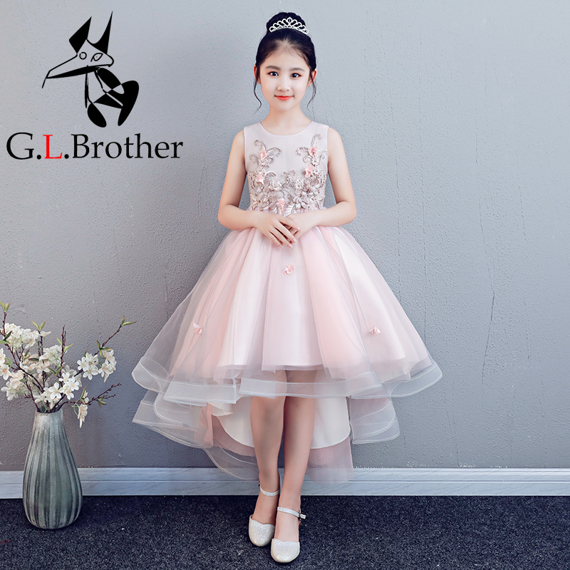 цена на Embroidery Kids Pageant Dress Birthday Evening Gowns Short Front Long Back Flower Girl Dresses Beading Ball Gown Princess Dress