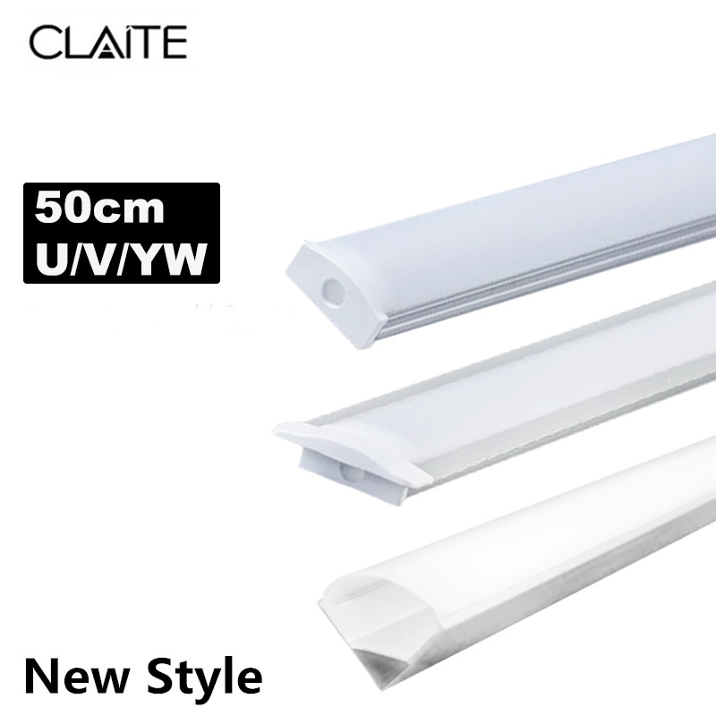 CLAITE 2019 U V YW Three Style 50cm Aluminium Channel Holder For LED Strip Light Bar Under Cabinet Lamp Kitchen 1.8cm Wide