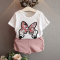 2016 New children set girls clothing set white t-shirt with butterfly printing top+short pants suit kids set baby clothing