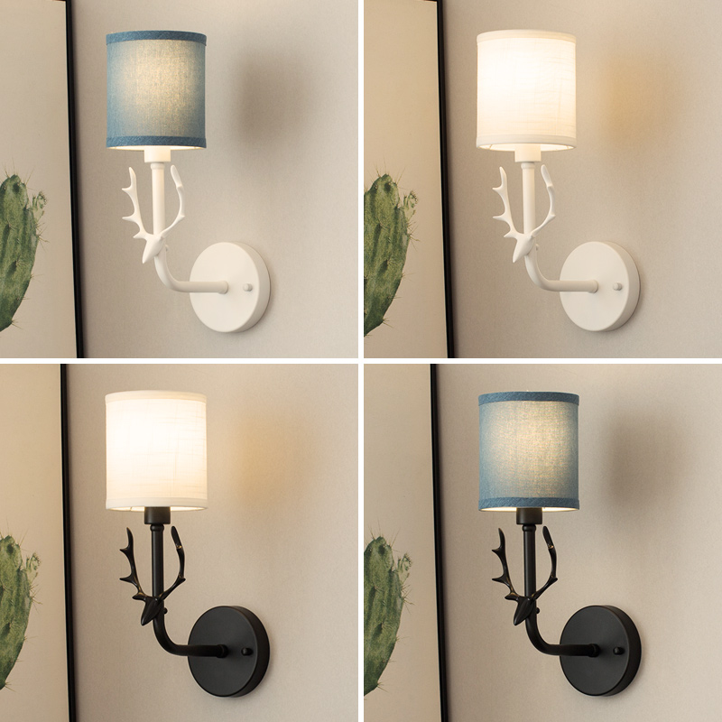 Nordic LED simple wall lamp lucky creative deer head fabric lampshade living room bedroom bedside lamp