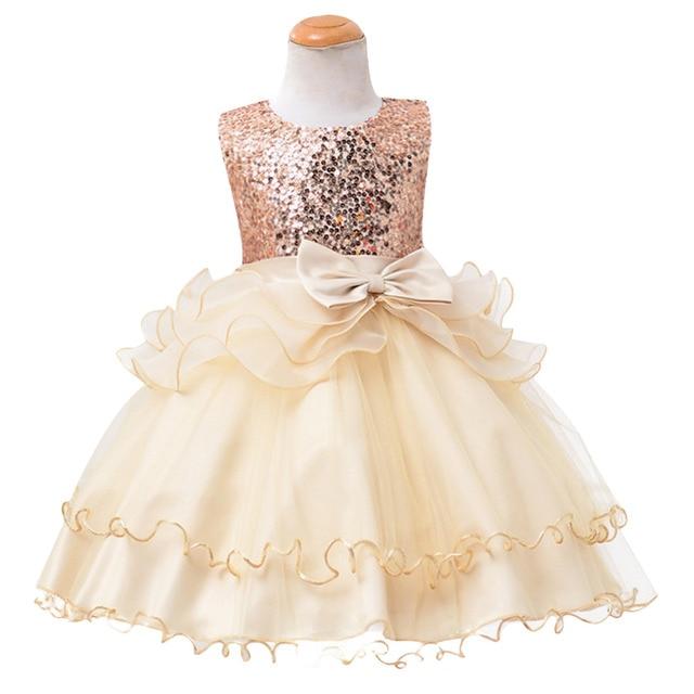 Baby Kinder Mädchen Prinzessin Kleider Sleeveless Layered Pailletten ...