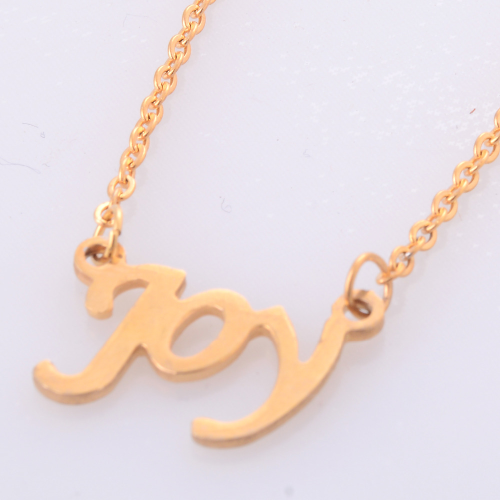 new fashion womens gold color stainless steel letter pendant necklaces small name joy collar