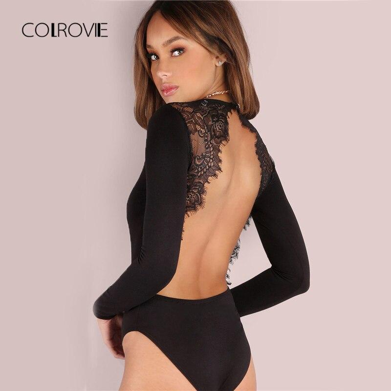COLROVIE Backless Lace Patchwork Bodysuit Black Sexy Slim Women Club Summer Bodysuits Long Sleeve Skinny Hot Party Bodysuit