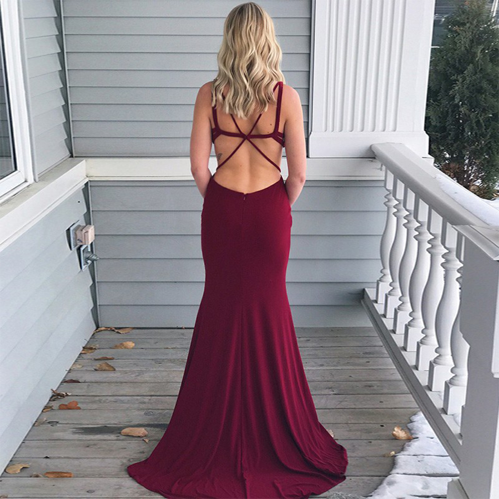 Elegant Mermaid Prom Dresses Spaghetti Strap Backless Long Party Dress Floor Length Formal-Gown Vestido de festa
