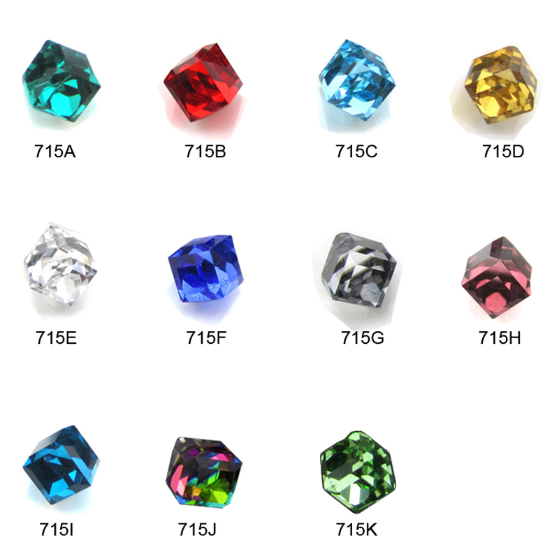 MNS715 Glitter 4MM Cube Square glass micro beads nail stone s