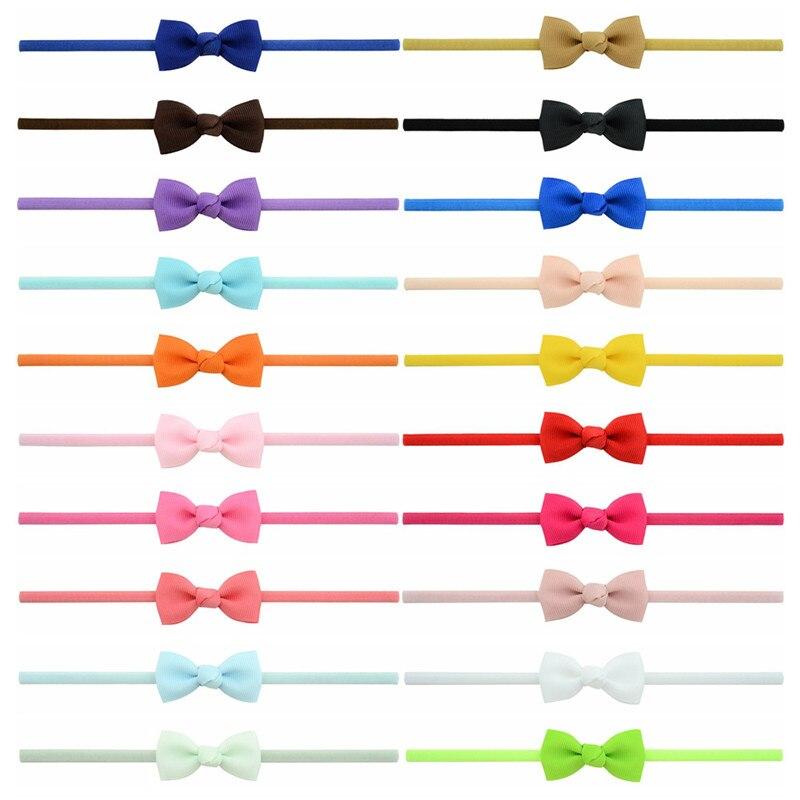20pcs/lot Newborn Girls Cute Elastic Hair Head Bands Bowknot Ribbon Small Bows Thin Headband Hair Accessories Hairband Headwear