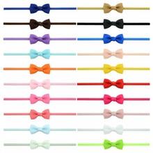 Headband Hair-Accessories Ribbon Girls Newborn Bows Bowknot Elastic Cute 20pcs/Lot Thin