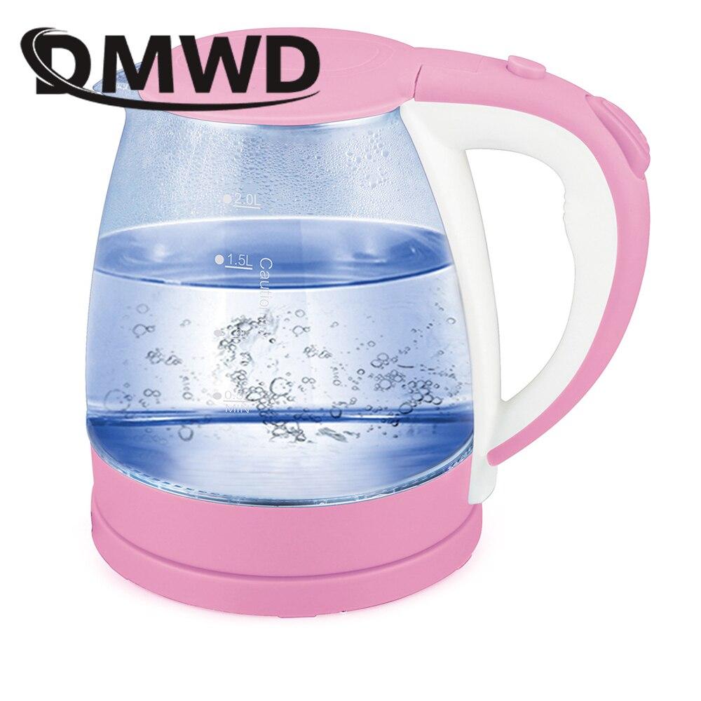 DMWD 2L Blue Light Transparent Glass Pot Electric Kettle Stainless steel Hot Water Boiler Auto Power-off Heating teapot EU plug цена