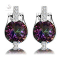 First class products Rainbow Cubic Zirconia Silver Plated Promotion Earrings E721 Rave reviews best sell Explosion models Trendy