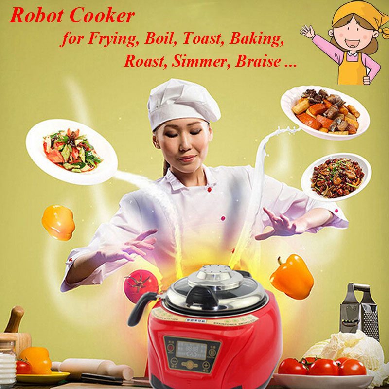 5.8L Smart Robot Cooker Household All Intelligent Food Cooking Machine Automatic Meat Vegetables Cooking Pot потолочная подвесная люстра коллекция champa 879067 хром черный lightstar лайтстар