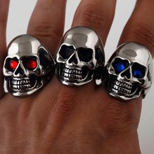Steel soldier mix color mix size 316L Stainless Steel Fashion Jewelry Men's Punk Smooth Black/Gold Skull Rings Man