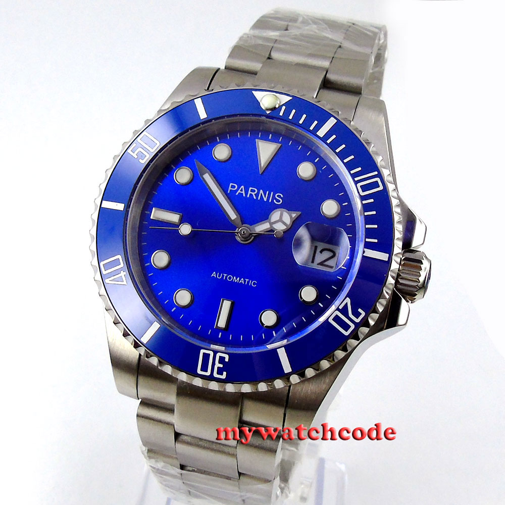 40mm parnis blue dial ceramic bezel luminous vintage sapphire miyota automatic movement mens watch P144 все цены