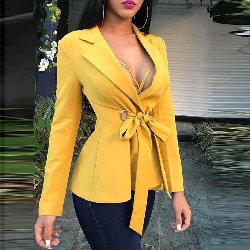 Elegant Autumn Women Blazer Jacket Coat Female Long Sleeve Slim Lace Up Jacket Fashion Office Lady Small Blazer