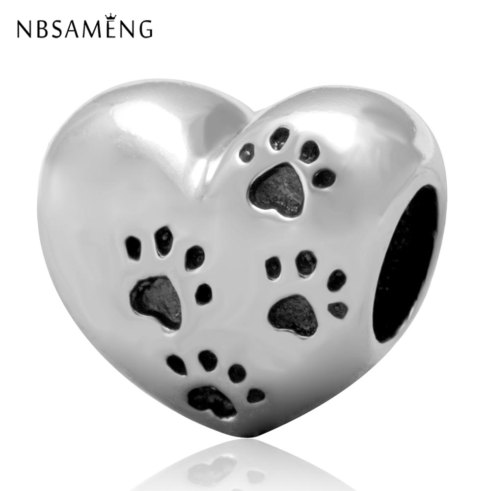 Beads Purposeful New 100% 925 Sterling Silver Charm My Sweet Pet Dog Paw Print Bead Charms Fit Pandora Bracelets Women Diy Jewelry Fast Color