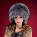 Women's Winter Hats With Natural Real Fur Female Cap Mink Fur Real Knitted Caps Pineapple Hat Hold Ears Fox Fur Hat For Women
