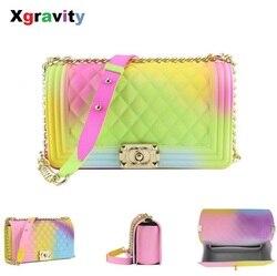 Xgravity 2019 Colorful Female Handbags Shoulder Women Cross-body Ladies Bag Rainbow Colorful Handbags Female PVC Bags Girls H164