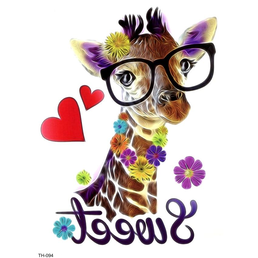 5pcs 3D Love Giraffe Waterproof Temporary Tattoos Men Feather  Beauty Animals The Flash Tatoo Tatuaje Temporal Flash Tattoo