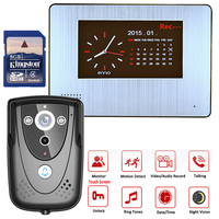 7 DVR Color Touch Screen Video Door Phone with PIR Record intercom System with IR camera 8G SD card