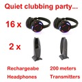 Silent Disco compete system black led wireless headphones - Quiet Clubbing Party Bundle (16 Headphones + 2 Transmitters)