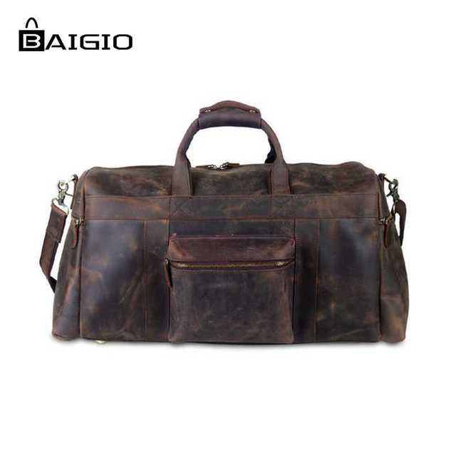 Homens viajam sacos baigio grife duffle de couro noite bolsas marrom do vintage grande capacidade de bagagem de mão sacos de ombro