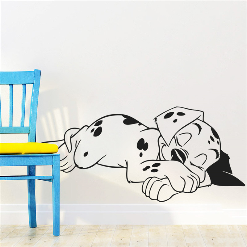 Cartoon Sweet Dream Dalmatian Dogs Wall Stickers For Kids Rooms Nursery Decor Pet Puppy Vinyl Wall Decals Diy Mural Poster Art