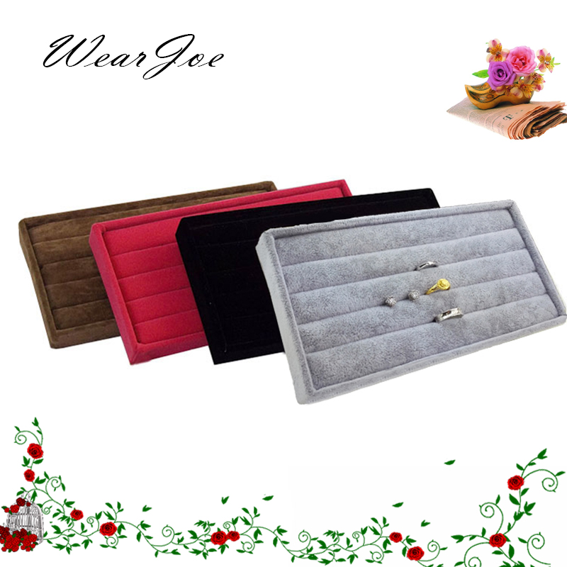 4 Color Portable Jewelry Storage & Display Velvet Tray Ring Holder Container Gift Box Earring Showcase Stand Organizer 22*11cm