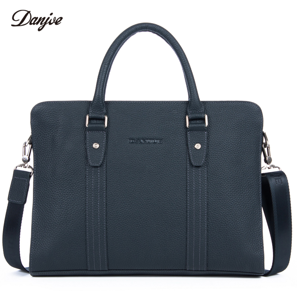 DANJUE Genuine Leather Business Handbag Male Transverse Classic Briefcase Men Trendy Laptop Bag Leisure Messenger New Bag Totes недорого