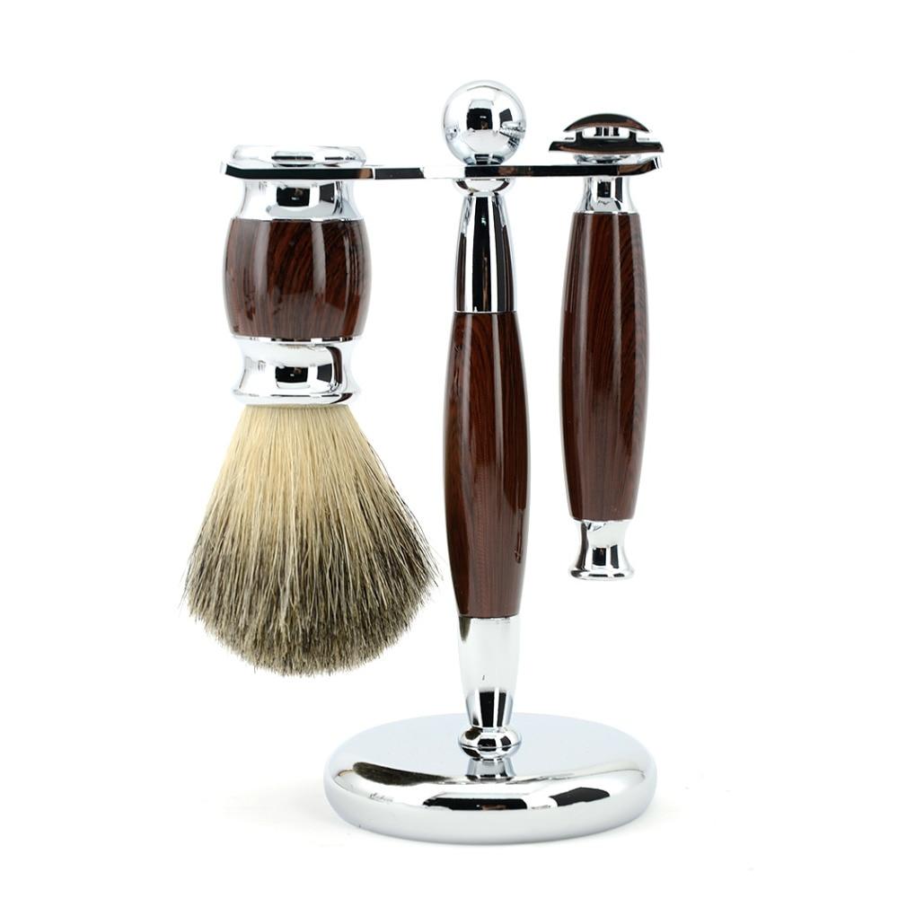 ZY Men Shaving Set Adjustable Double Edge Blade Razor Pure Badger Beard Brush Stand Holder Safety Razor Shave Kit Free 10 Blades  verawood wood pure badger shaving brush and de safety razor set