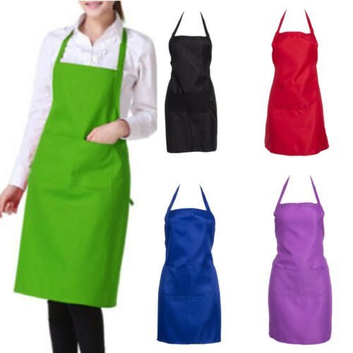 Thicken Cotton Polyester Blend Anti-wear Cooking Kitchen Bib Apron With Pockets Black Blue Green Red