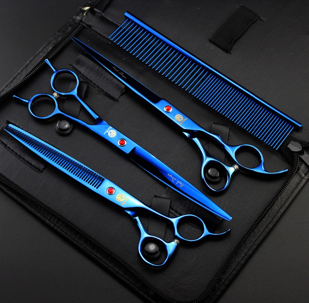 Purple Dragon Professional Pet Grooming Scissors Set 8 inch Blue Straight & Thinning & Curved Scissors Dog Grooming Shears