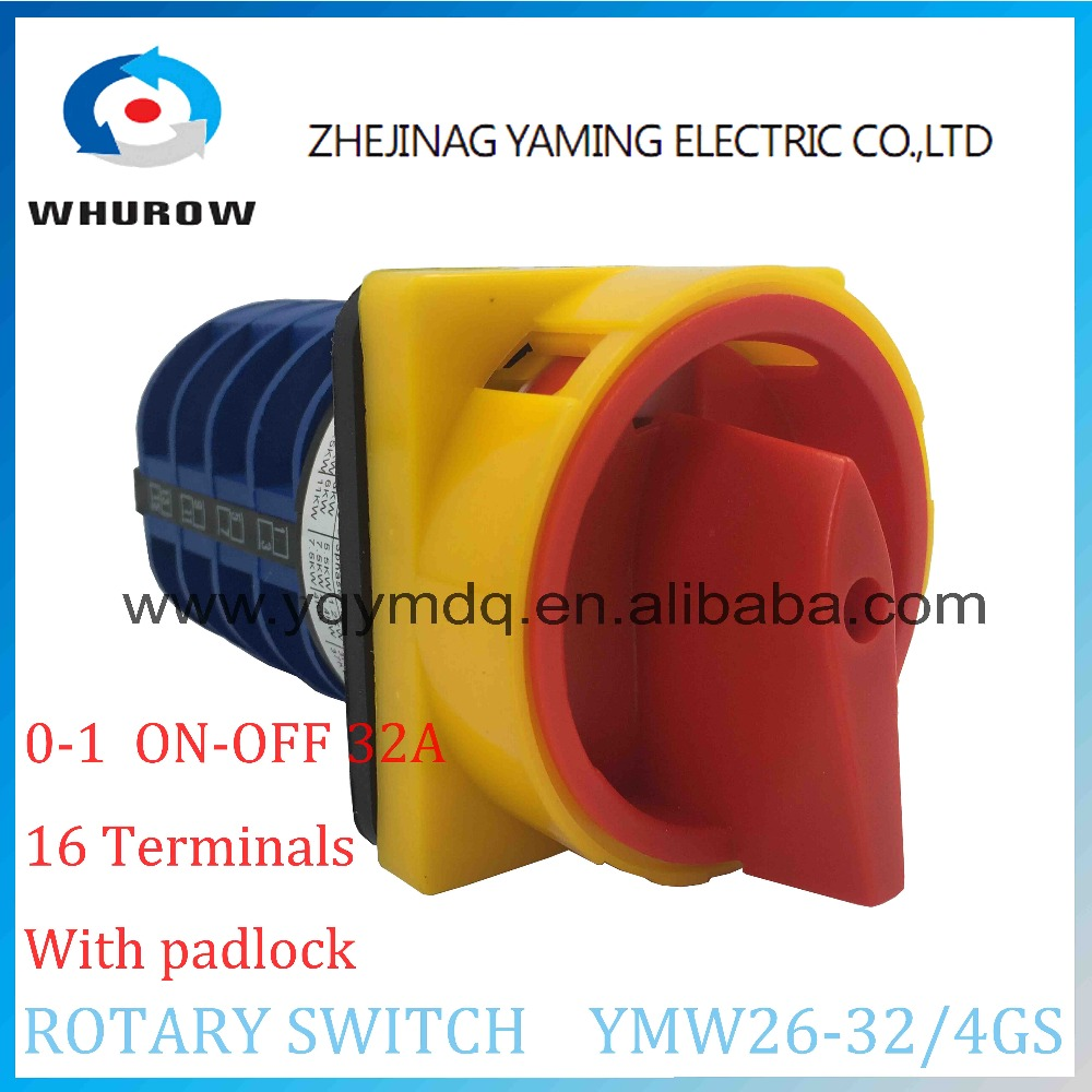 LW26 YMW26-32/4GS Rotary switch 2 postion(OFF-ON)  690V 32A 4 pole 16 terminal screw universal changeover cam main switch 660v ui 10a ith 8 terminals rotary cam universal changeover combination switch