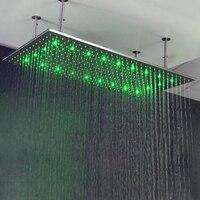 60 см * 80 нержавеющая сталь 304 душ 32 дюймов осадков большой душ насадки для душа светодиодный душ с дужками Ванная комната Душ