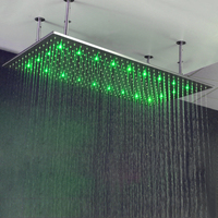 60 см * 80 см Нержавеющаясталь 304 душ 32 дюймов осадков большой душ головы светодиодный душ с кронштейны для душа Ванная комната душевых кабин