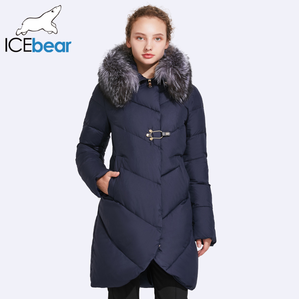 ICEbear 2017 Lisse Col De Fourrure Veste D'hiver Femmes Patte Décoratif Boucles Et Fermeture Éclair Double Couche Coupe-Vent Manteau 17G6529