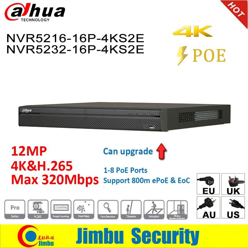 Dahua NVR 4K people counting NVR5216-16P-4KS2E NVR5232-16P-4KS2E heat map 16poe port 1-8 PoE Support 800m ePoE & EoC цена