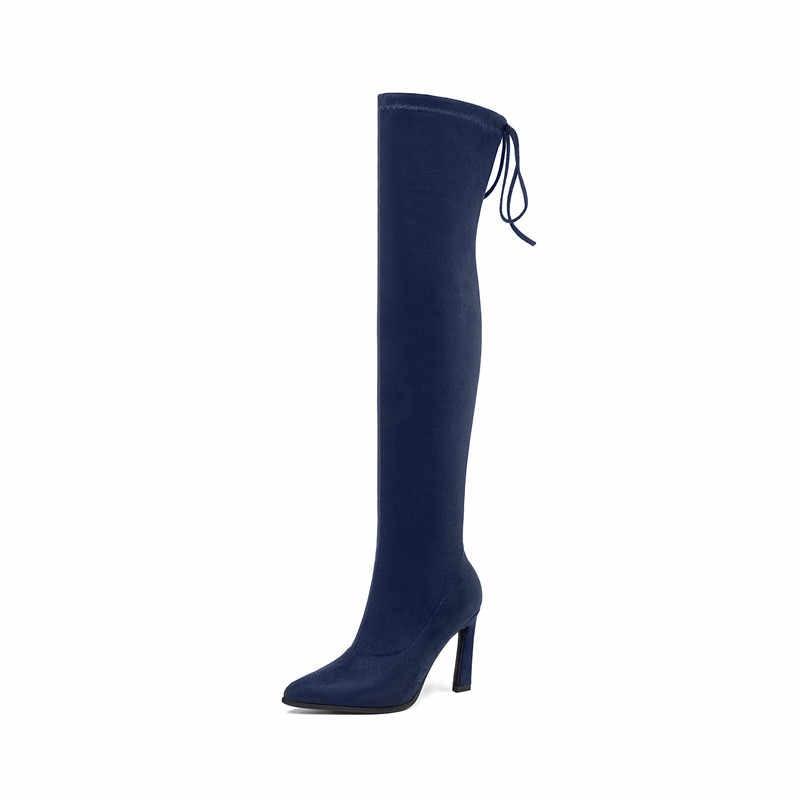 ASUMER 2020 yeni diz üzerinde çizmeler kadın ayakkabıları ince yüksek topuklu streç çizmeler akın seksi uyluk yüksek çizmeler kadın büyük boy 34-43