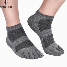 Veridical 5Pairs=1Lot Summer Five Fingers Socks Mesh Breathable Compression Toe Socks Solid Men Cotton Boat Crew Socks Short