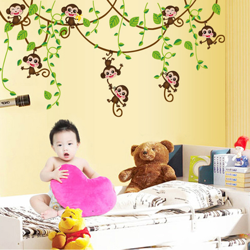4 Cute Monkeys Wall Decals Sticker Nursery Decor Mural: 1pcs Cute Mini Monkeys Vinyl Wall Stickers Decals Children